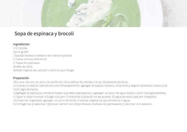 Sopa de espinaca y brocoli