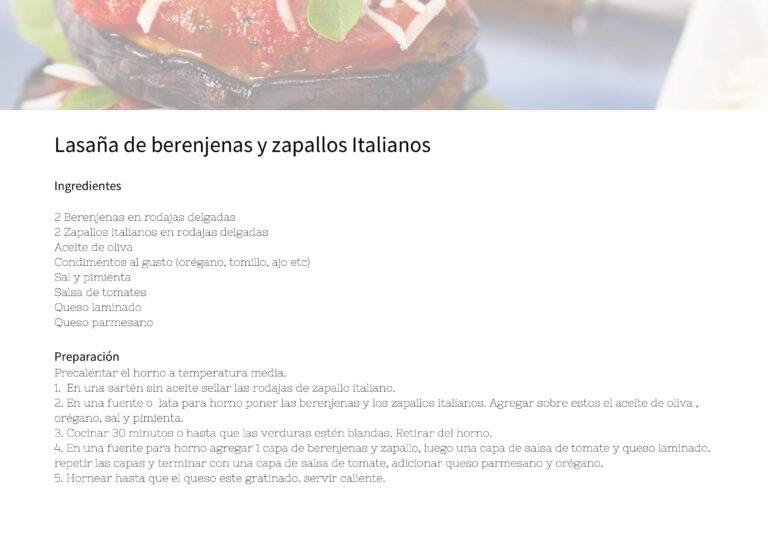 Lasaña de berenjenas y zapallos Italianos
