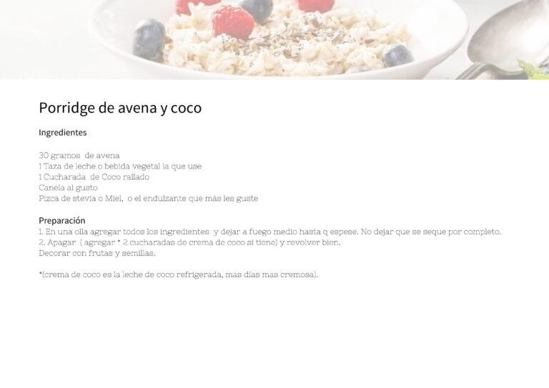 Porridge de avena y coco