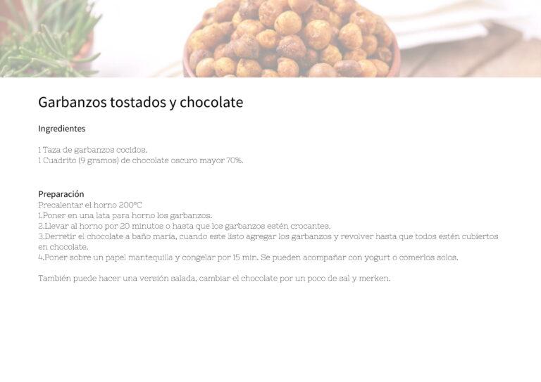 Garbanzos tostados y chocolate