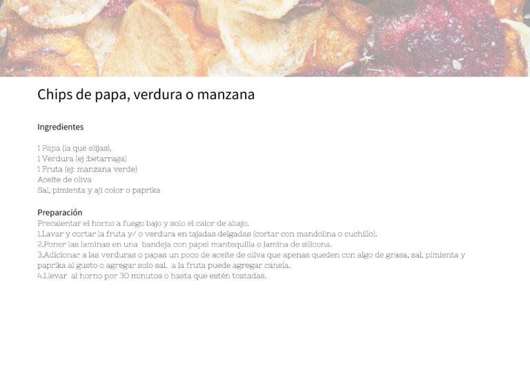 Chips de papa, verdura o manzana