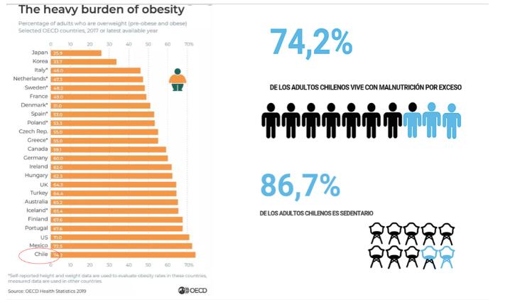 Obesidad ranking países ocde