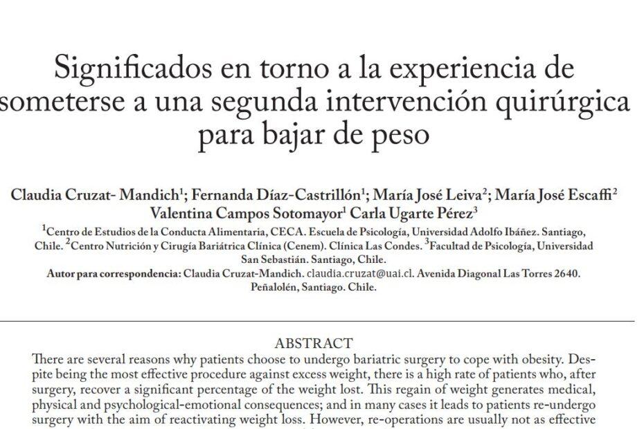 Significados en torno a la experiencia de someterse a una segunda intervención quirúrgica para bajar de peso